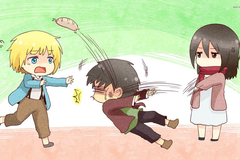 Anime - Attack On Titan Anime Chibi Mikasa Ackerman Armin Arlert Eren  Yeager Wallpaper