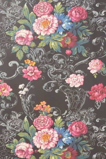 venetian bouquet wallpaper by york wallcoverings / @Anthropologie . Vintage  Floral BackgroundsBlack ...