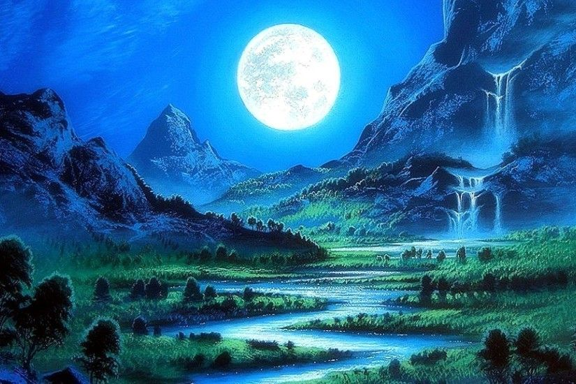 Scenery Moon Beautiful Stunning Cool Moonlight Pre Four Bright Paintings  Nature Downloaded Seasons Rivers Art Mountains Trees Full Blue Paradise  Creative ...
