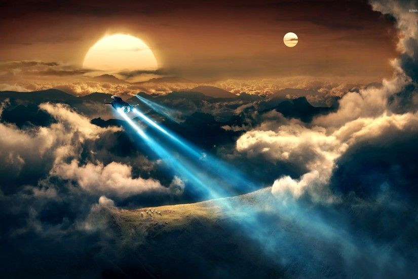 ... eships flying towards the beautiful sunset wallpaper fantasy ...