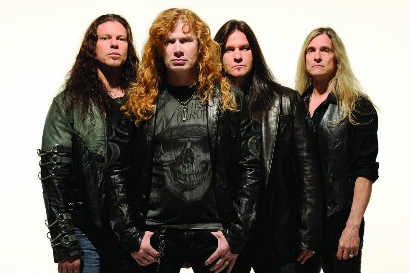 Preview wallpaper megadeth, hair, jackets, skull, chains 1920x1080
