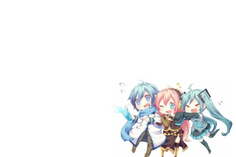 vocaloid hatsune miku megurine luka chibi kaito vocaloid anime boys simple  background anime girls Wallpaper HD