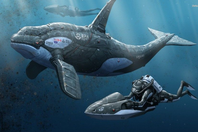Divers And A Robotic Orca