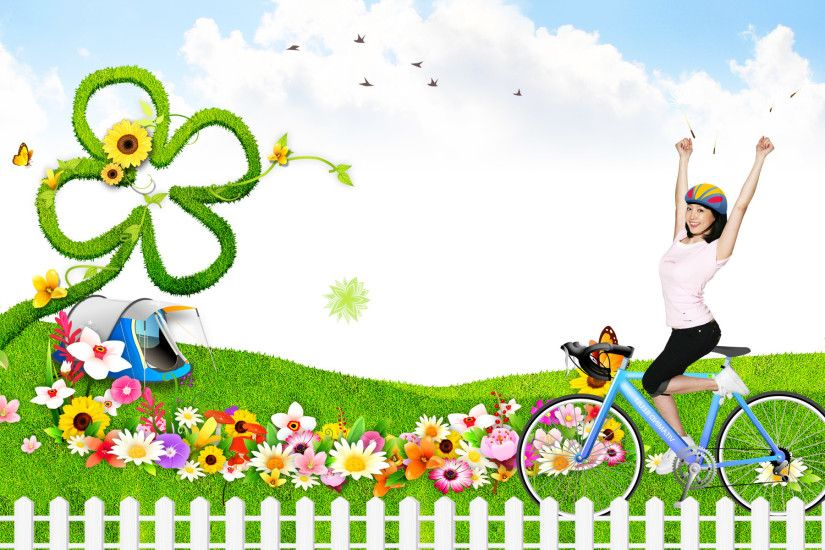 Beautiful picture with cartoon background Wallpapers - HD