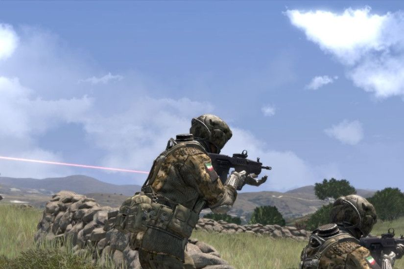 3840x1200 Wallpaper arma 3, soldiers, stones, grass, automatic