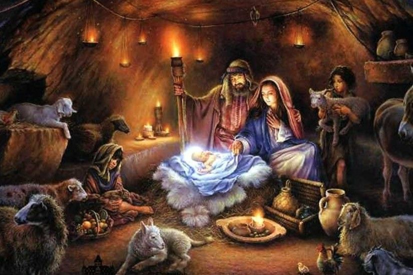 Religious - BABY BORN BARN MOTHER JESUS MARY Cool Wallpapers for HD 16:9  High