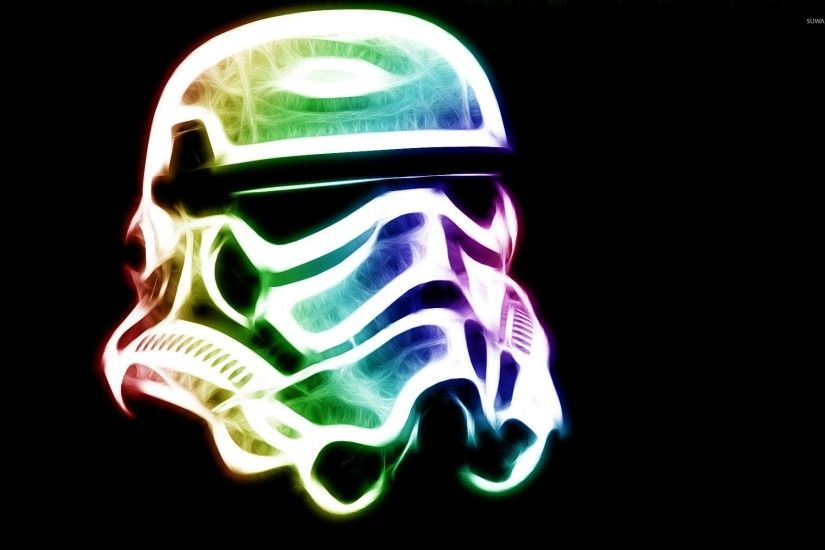 Neon Stormtrooper helmet - Star Wars wallpaper