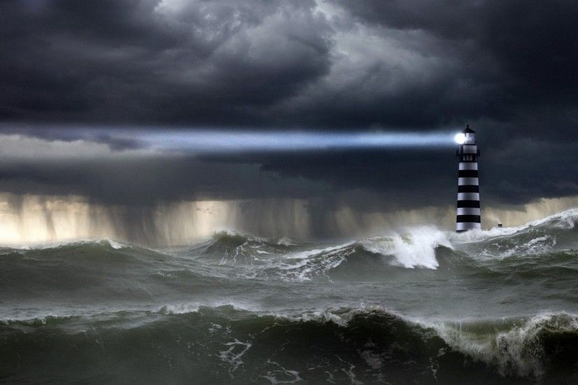 Lighthouse Storm Paintings