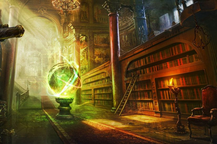 Preview wallpaper magic, ball, library, columns, castle 1920x1080