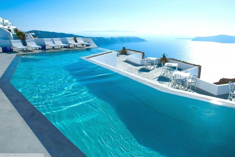 swimming pool wallpaper. hotels luxury water santorini chair mountain  landscape swimming pool photography wallpapers hd
