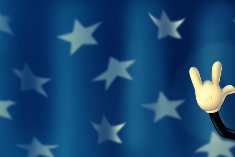 Preview wallpaper walt disney, mickey mouse, hand, fingers, background,  stars 3840x2160