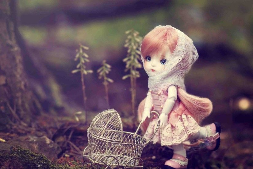 Sweet little cute doll wide wallpaper