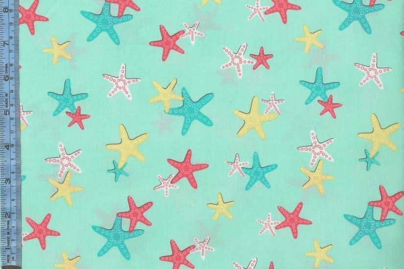 Sea Buddies - coral turquoise yellow and white starfish on light aqua  background
