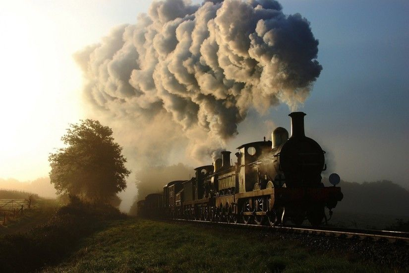 train steam engine smoke cars railroad nature