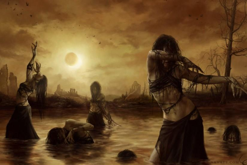 2d horror ruins swamp witches eclipse fantasy witch wallpaper | 1920x1200 |  450082 | WallpaperUP