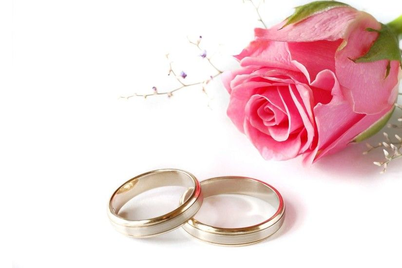 Wedding Rings And Flowers Background Hkngfal - Giant Design