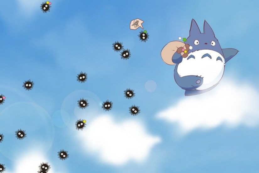 2560x1440 Wallpaper my neighbor totoro, sky, clouds, susuwatari, spirited  away