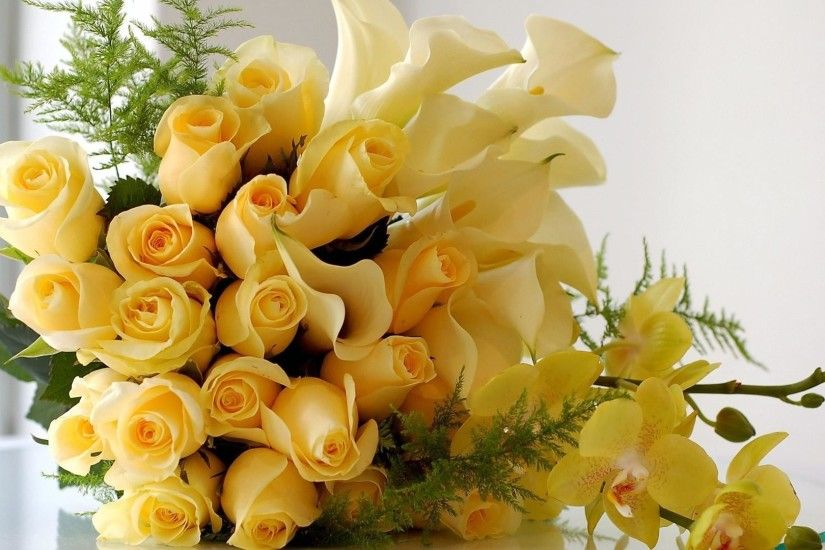 Flowers Bouquet Roses Yellow HD Wallpapers