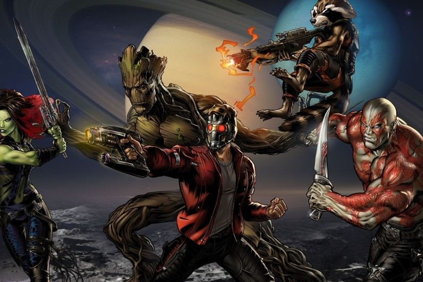 1920x1080 guardians of the galaxy star lord gamora rocket raccoon groot  drax the destroyer wallpaper and background JPG 464 kB