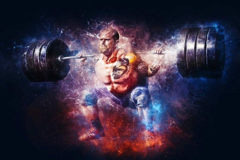 4K HD Wallpaper: Weightlifting at Gym · Photoshop Creativity with  Bodybuilding in this Premium Picture