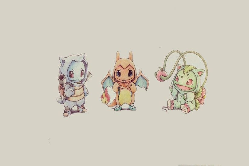 Bulbasaur, Squirtle and Charmander - Pokemon HD Wallpaper 1920x1080