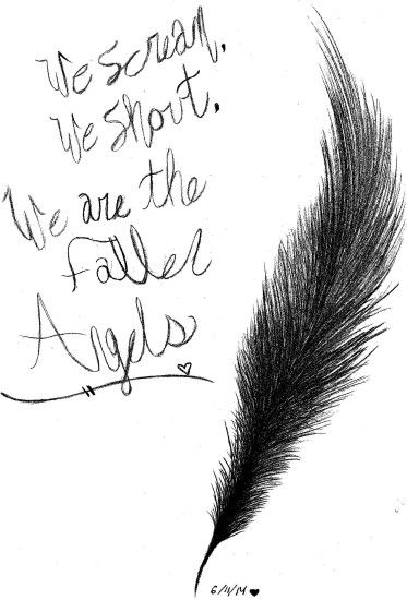 BLACK VEIL BRIDES FALLEN ANGELS FEATHER Drawing - GOTHICBURRITO .