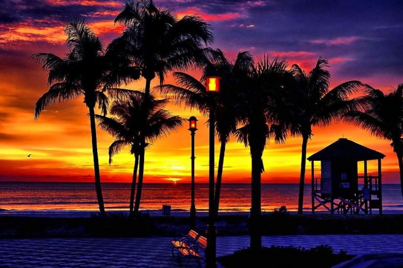 Tropical Beach Sunrise Wallpaper 1080p HD