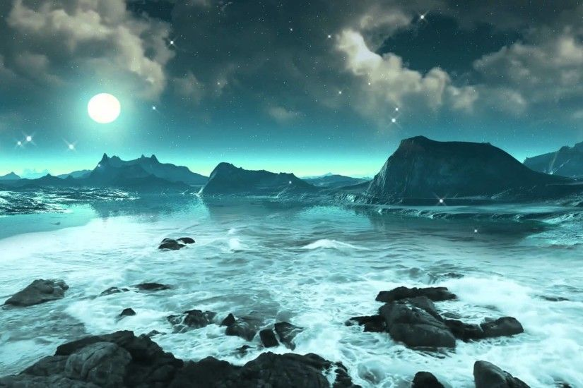 Moonlight, Stars And Ocean Waves 2 - Video Background HD 1080p - YouTube