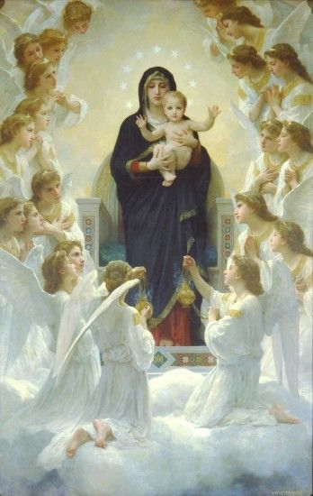 Virgin Mary With Angels During The Feast Of Assumption Of Our Lady