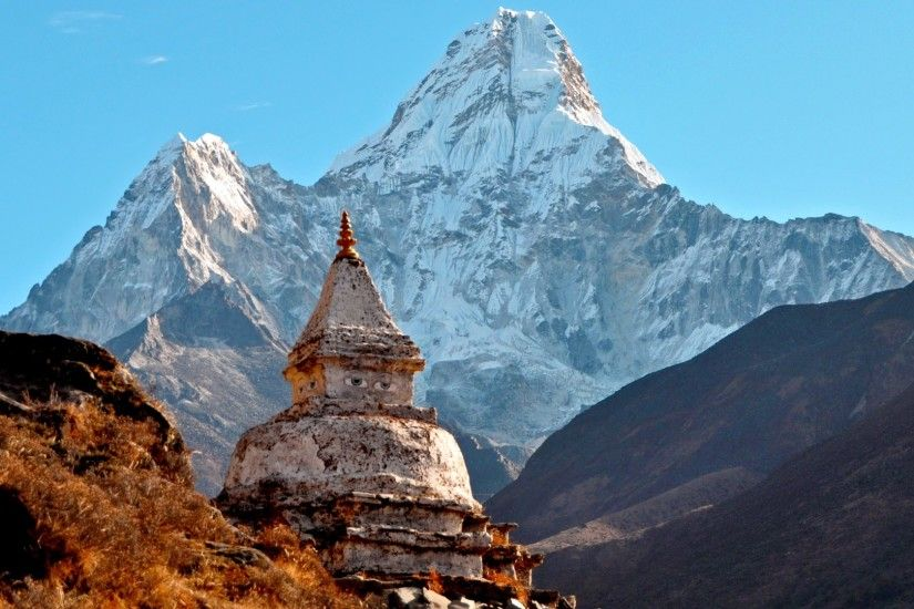 1920x1080 Wallpaper himalayas, ama dablam, temple, mountain