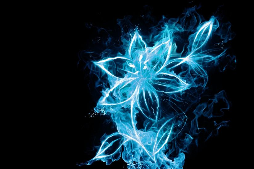 Blue fire flower wallpaper HD.