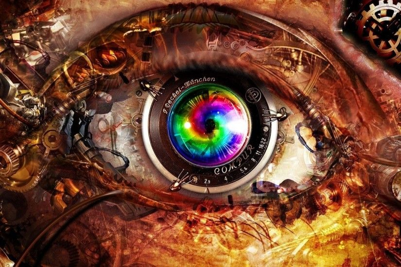 closeup abstract eyes multicolor futuristic technology Art HD Wallpaper