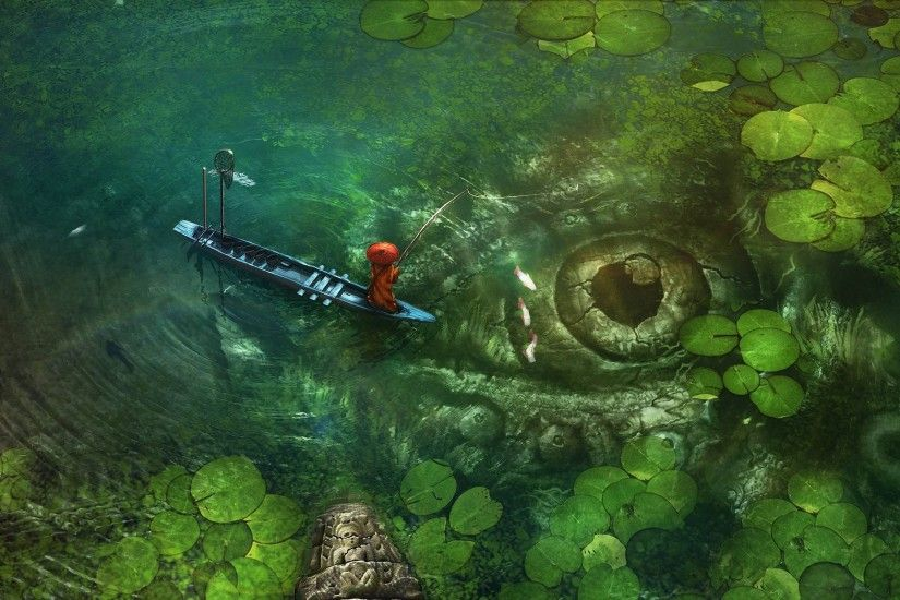 Monster Lake Fantasy Red Green Fish Wallpaper At Fantasy Wallpapers