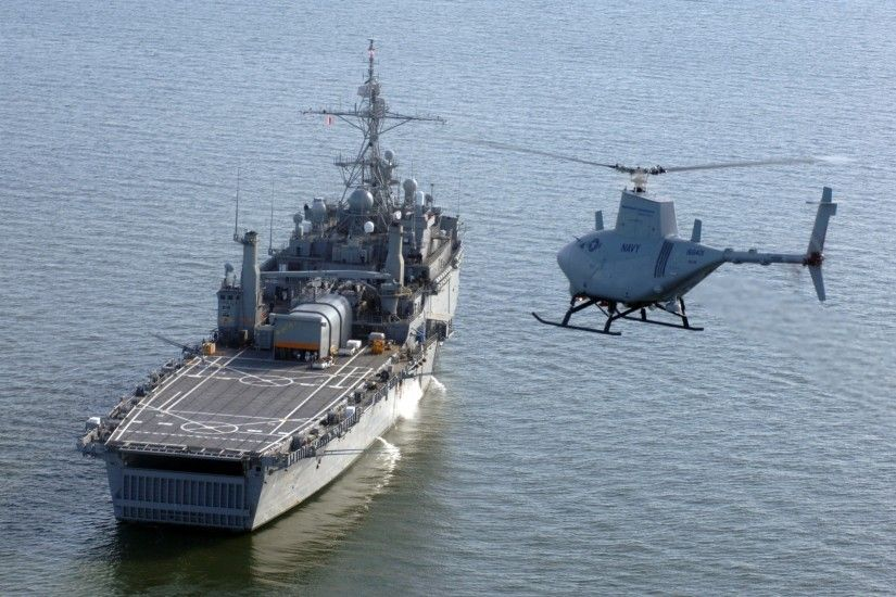US Navy ship and Heli Drone 2560x1920 wallpaper