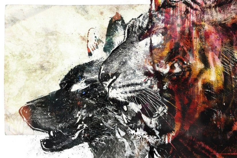 Preview wallpaper wolf, tiger, drawing, white, red 2048x1152