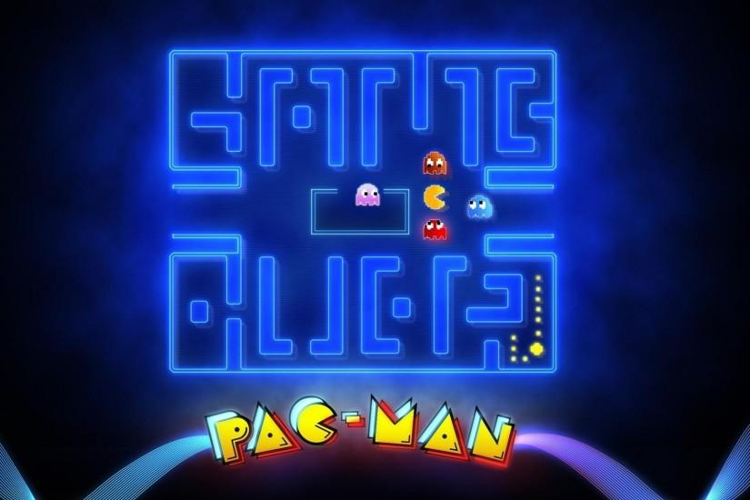 Arcade glowing mazes game over pac-man retro wallpaper | (21056)