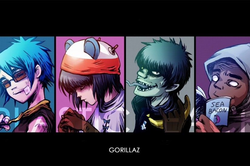 Gorillaz, Noodle, Murdoc, 2D, Russel, Simple background, Love Wallpapers HD  / Desktop and Mobile Backgrounds