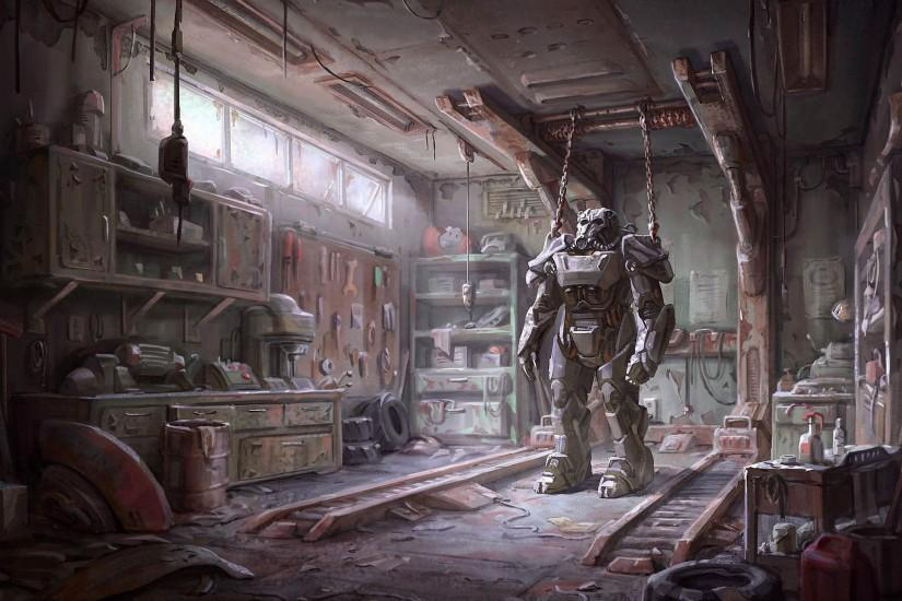 Fallout 4 Concept Art - Armor in the Garage 1920x1440 wallpaper