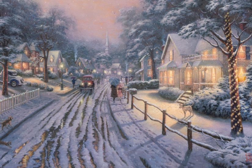 Thomas, Kinkade, Winter, Wallpaper, Mobile, M, Hd Wallpapers, Download,  High Quality, 1920×1080 Wallpaper HD