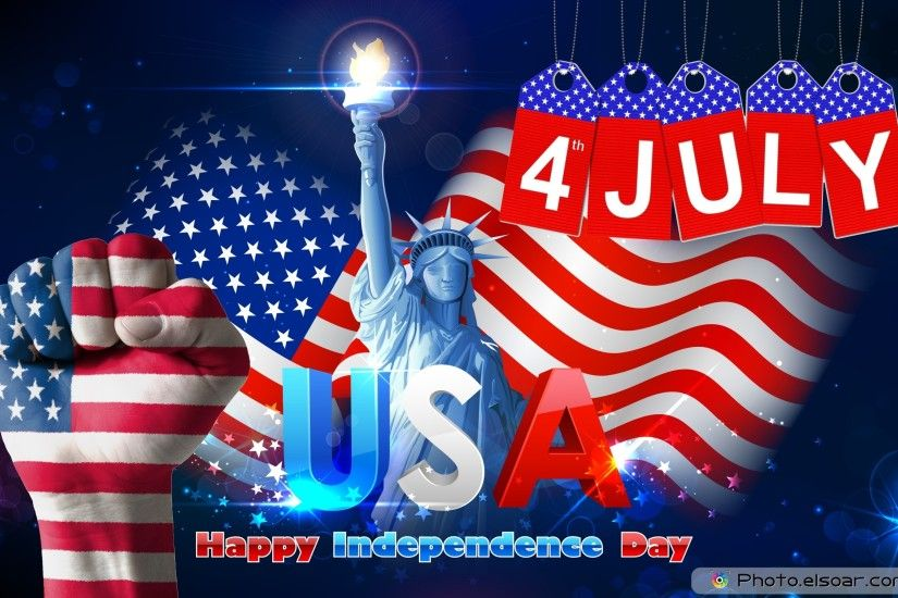 4 July USA Independence Day Wallpaper with Statue of Liberty with American  Flag