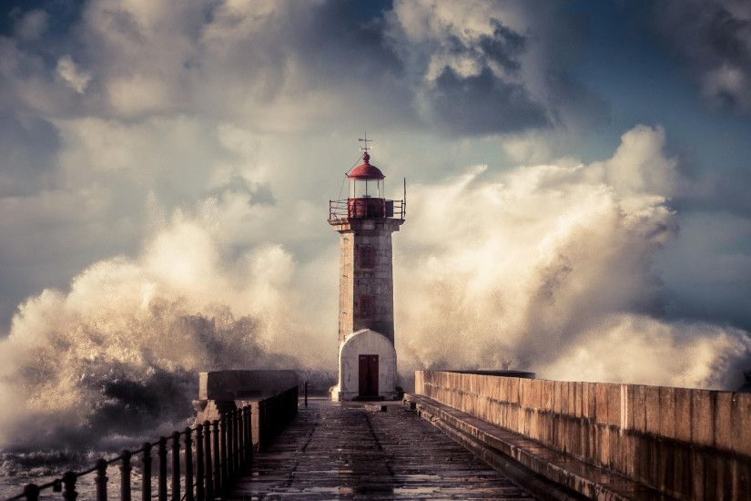 lighthouse, wave, spray, storm, sea