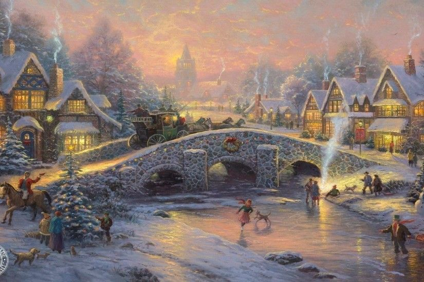 Thomas Kinkade Spirit of Christmas painting for sale, this painting is  available as handmade reproduction. Shop for Thomas Kinkade Spirit of  Christmas ...