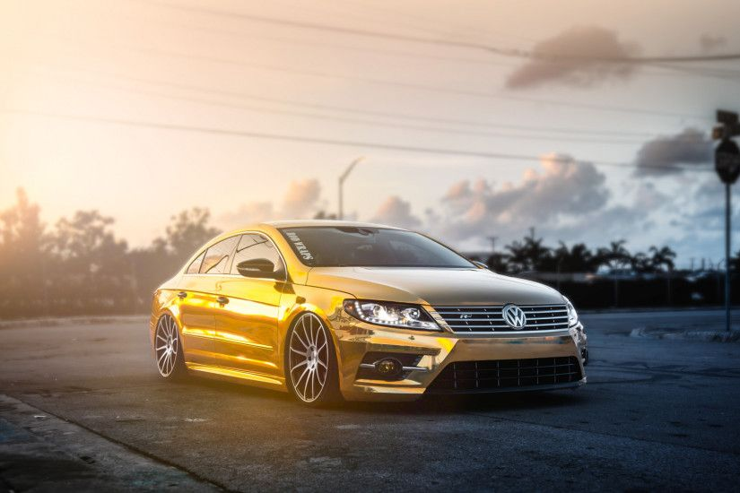 Preview wallpaper volkswagen, passat, cc, golden, mist 1920x1080
