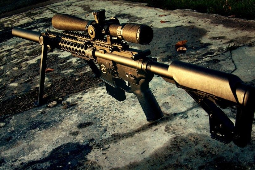 m4 sniper rifle weapon sunset
