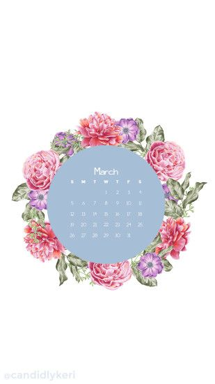 Flower Crown pink flower March calendar 2017 wallpaper you can download for  free on the blog