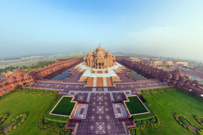 Preview wallpaper india, akshardham temple, beautiful, top view, panorama  3840x2160