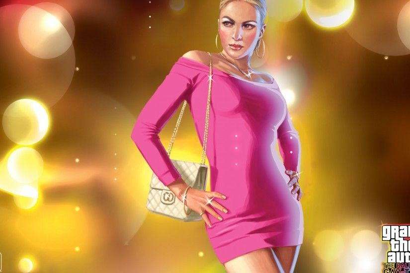 1920x1080 Wallpaper glamorous, girl, dress, pink, gta 4 the ballad of gay