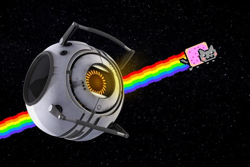Preview wallpaper nyan cat, rainbow, positive, space 1920x1080