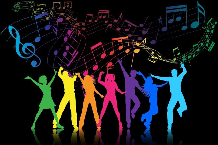Buy Party People by kjpargeter on GraphicRiver. Colourful silhouettes of  people dancing on a music notes background. Files included – ai (version  eight and ...
