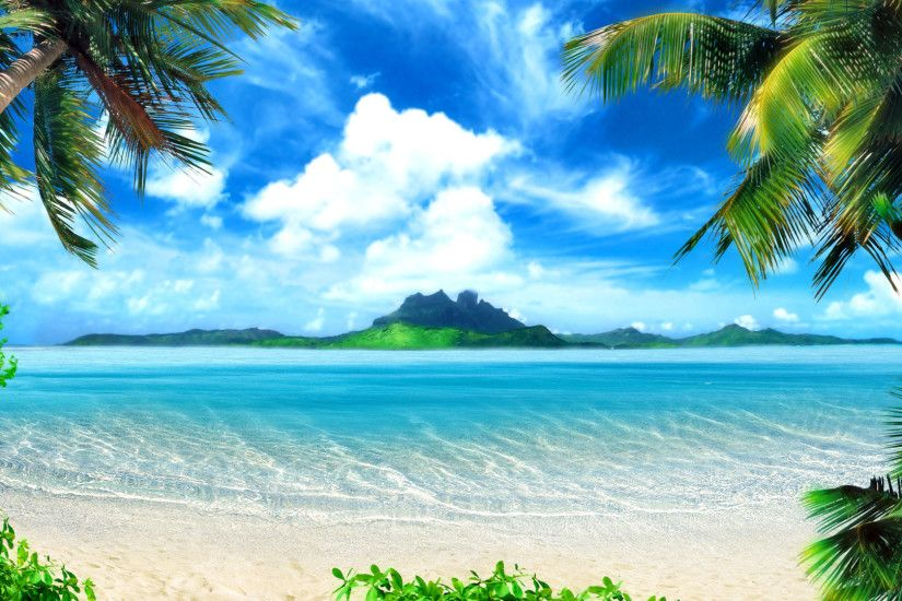 Wallpaper palm trees beach sea paradise desktop hd desktop Wallpaper